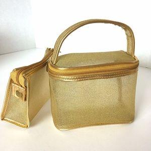 Oscar de la Renta Gold Mesh Mini Tote + Makeup Bag